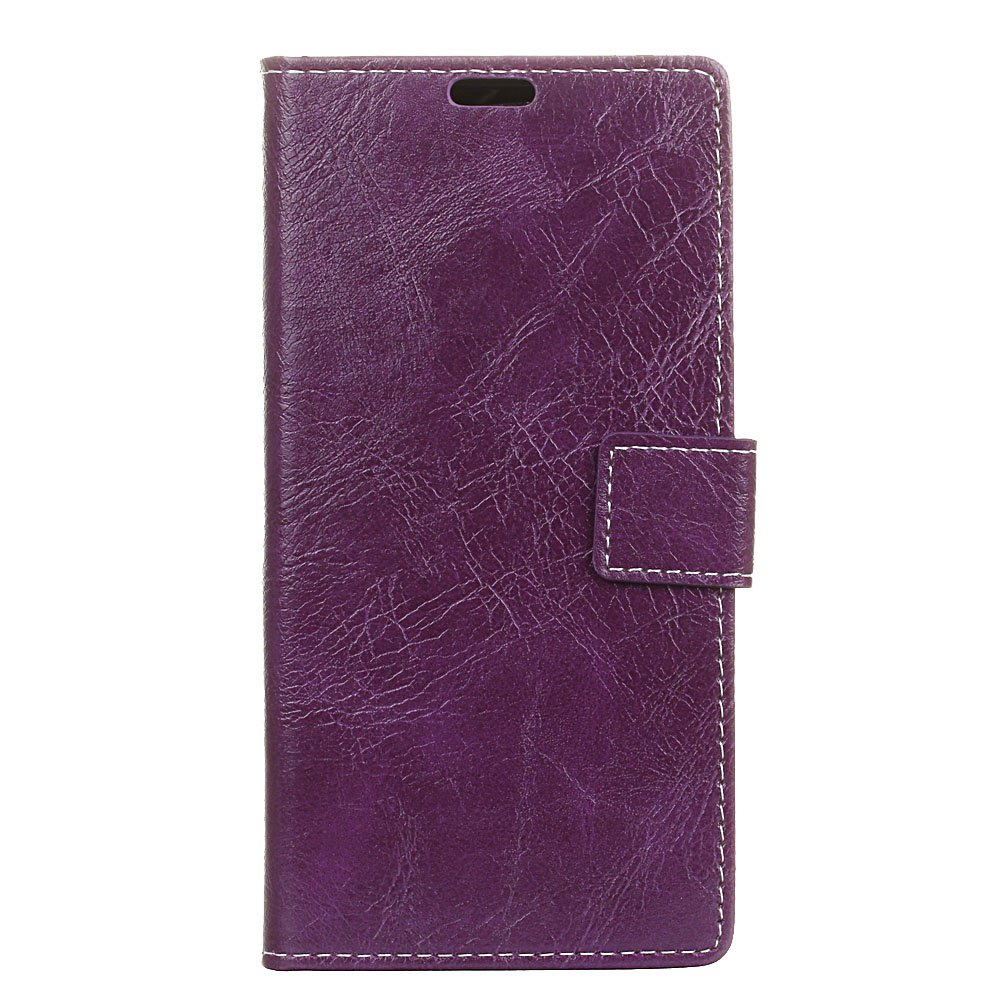 Genuine Quality Retro Style Crazy Horse Pattern Flip PU Leather Wallet Case for Samsung S8 - PURPLE
