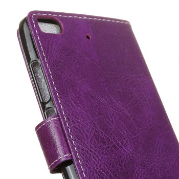 Genuine Quality Retro Style Crazy Horse Pattern Flip PU Leather Wallet Case for Xiaomi M5S - PURPLE