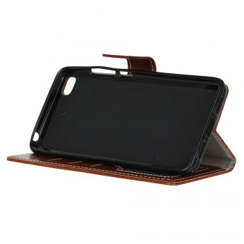 Genuine Quality Retro Style Crazy Horse Pattern Flip PU Leather Wallet Case for Xiaomi M5S - BROWN