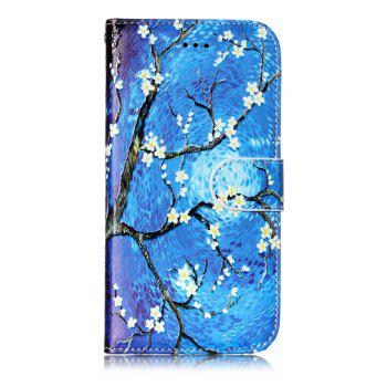 Blue Painting Pattern Flip Cover Holster PU Leather wallet Card Slots Holder Protection Mobile Phone Bag Case For iPhone X - COLORFUL FOR IPHONE X