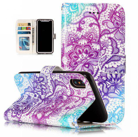 Purple Lotus Pattern Flip Cover Holster PU Leather wallet Card Slots Holder Protection Mobile Phone Bag Case For iPhone X - COLORFUL FOR IPHONE X