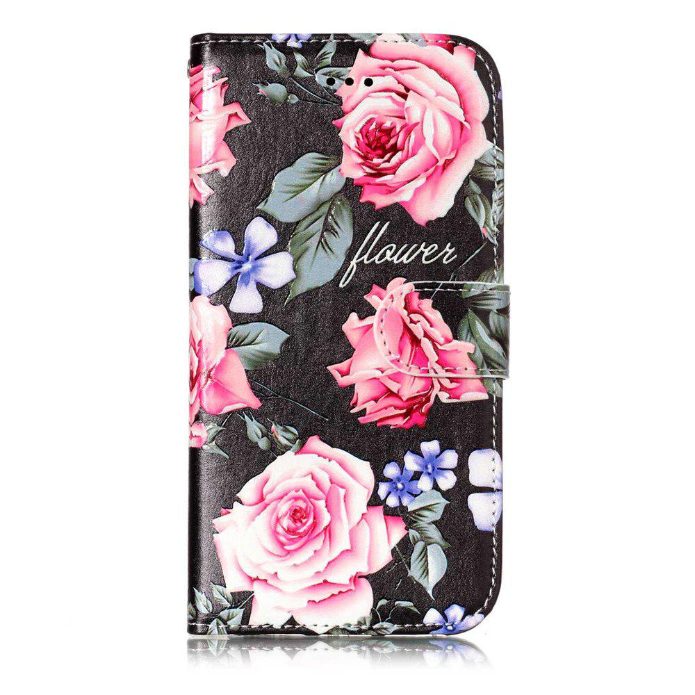 Peony Pattern Flip Cover Holster PU Leather wallet Card Slots Holder Protection Mobile Phone Bag Case For iPhone X - COLORFUL FOR IPHONE X