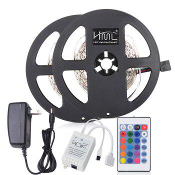 HML 5M 24W RGB SMD2835 300LEDs Strip Light with IR 24 Keys Remote Controller and DC Adapter 2PCS 100 - 240V - RGB RGB