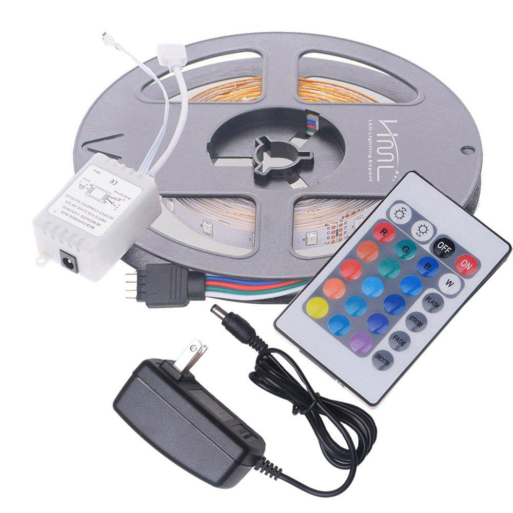 HML 5M 24W RGB SMD2835 300LEDs Strip Light with IR 24 Keys Remote Controller and DC Adapter 2PCS 100 - 240V - RGB