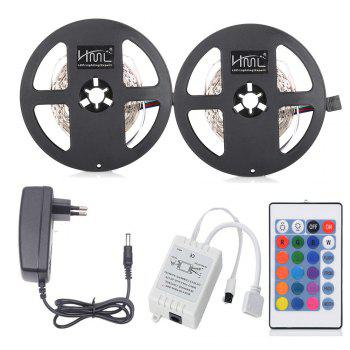 HML 5M LED Strip Light 24W RGB SMD2835 300 LEDs 2pcs with IR 24 Keys Remote Control and DC Adapter(EU Plug) - RGB RGB