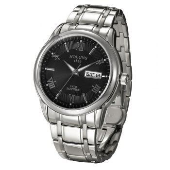 HOLUNS 4873 Business Calendar Waterproof Steel Band Men Mechanical Watch with Box - SILVER/BLACK
