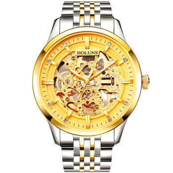 HOLUNS 4871 Business Casual Waterproof Steel Band Men Automatic Mechanical Watch with Box - SILVER AND GOLDEN SILVER/GOLDEN