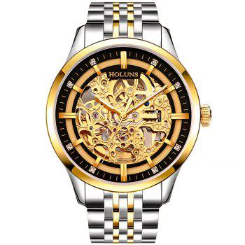 HOLUNS 4871 Business Casual Waterproof Steel Band Men Automatic Mechanical Watch with Box - GOLD BLACK GOLD BLACK