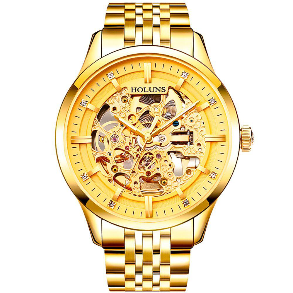 HOLUNS 4871 Business Casual Waterproof Steel Band Men Automatic Mechanical Watch with Box - GOLDEN