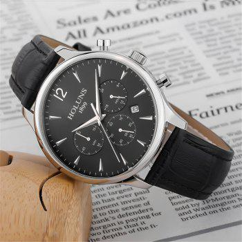 HOLUNS 4870 Fashion Calendar Waterproof Steel Band Men Quartz Watch with Box - SILVER/BLACK