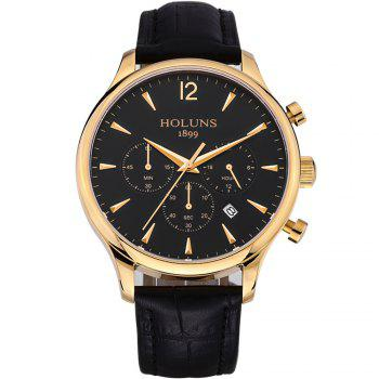 HOLUNS 4870 Fashion Calendar Waterproof Steel Band Men Quartz Watch with Box - GOLD BLACK GOLD BLACK