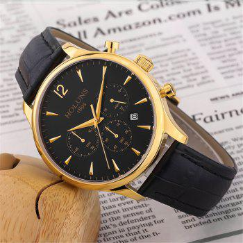 HOLUNS 4870 Fashion Calendar Waterproof Steel Band Men Quartz Watch with Box - GOLD BLACK