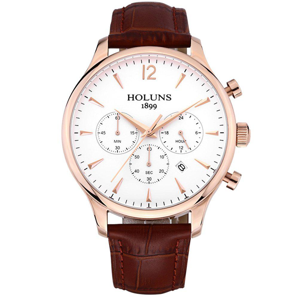 HOLUNS 4870 Fashion Calendar Waterproof Steel Band Men Quartz Watch with Box - ROSE / WHITE