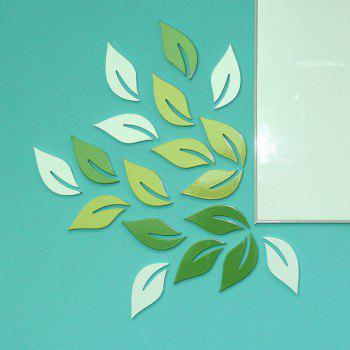 DIY Leaves 3D Rtereo Wooden Removable Wall Stickers (6pcs) - GREEN GREEN