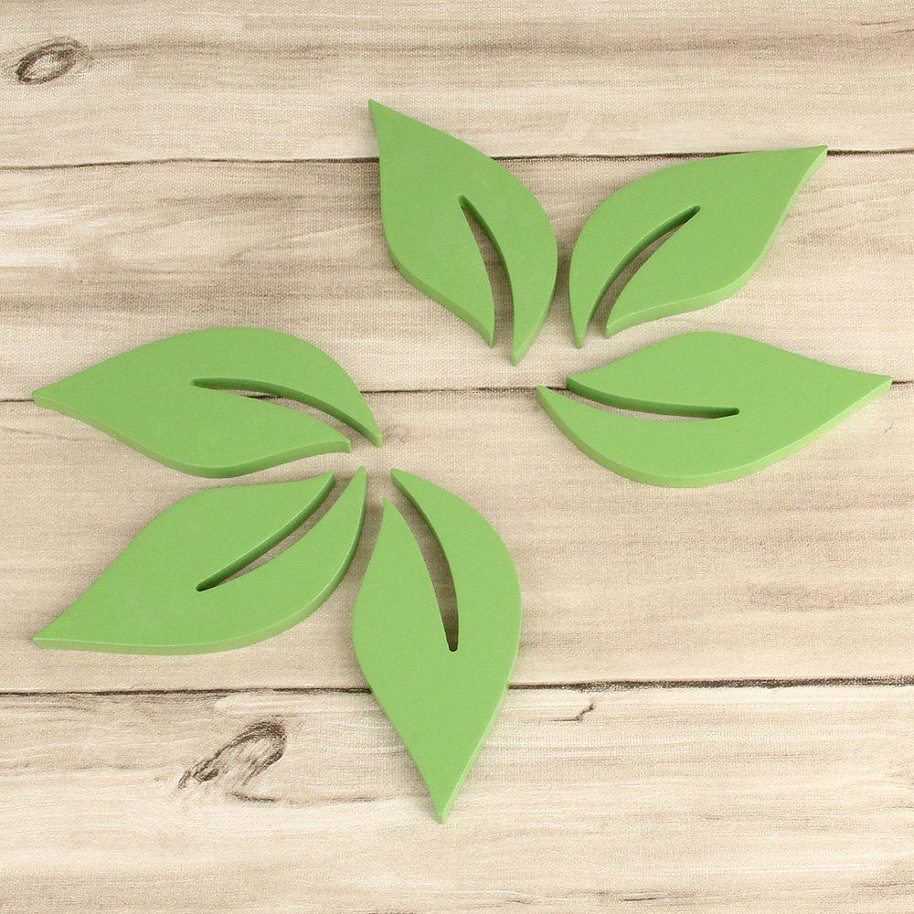 DIY Leaves 3D Rtereo Wooden Removable Wall Stickers (6pcs) - GREEN