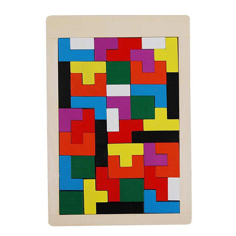 Maikou Wooden Tangram Jigsaw Brain Tetris Block Intelligence Toy for Kids 40PCS - COLORMIX
