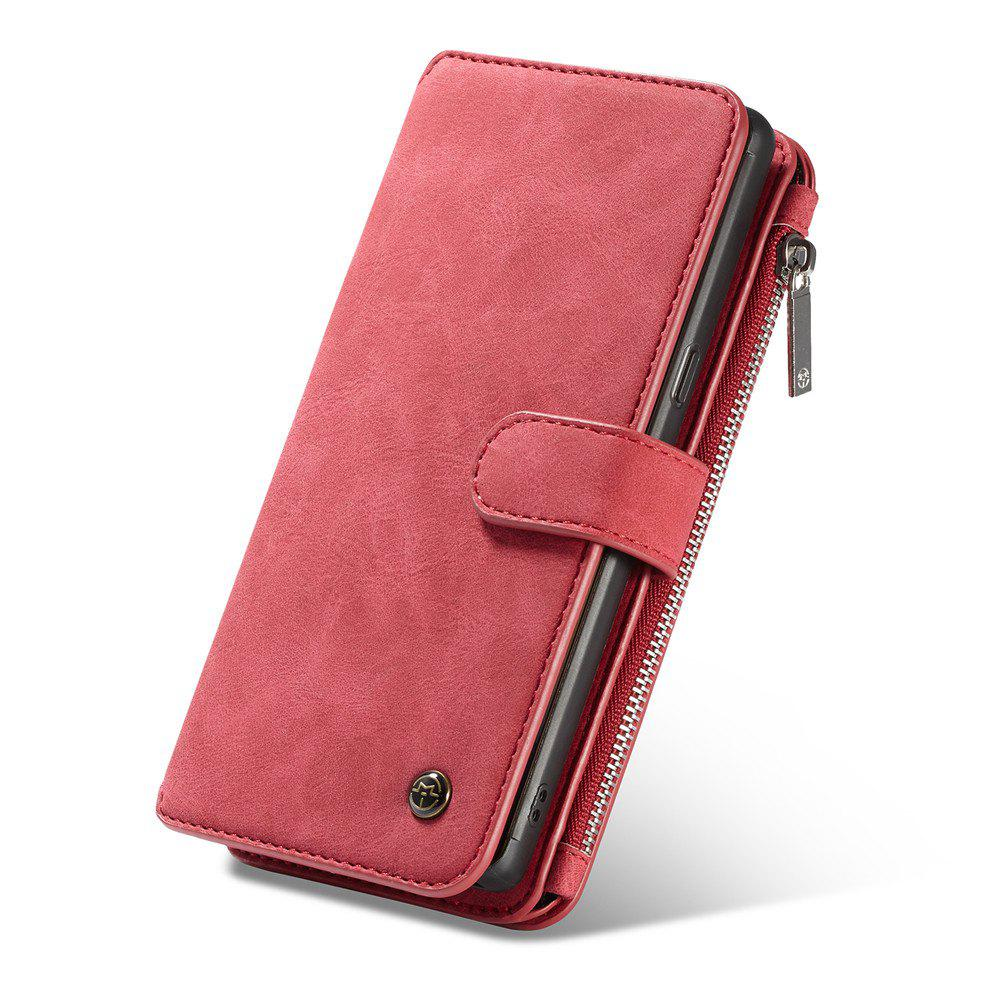 Multi-functional Leather Separable Zipper Purse Phone Case for Samsung Galaxy Note 8 - RED