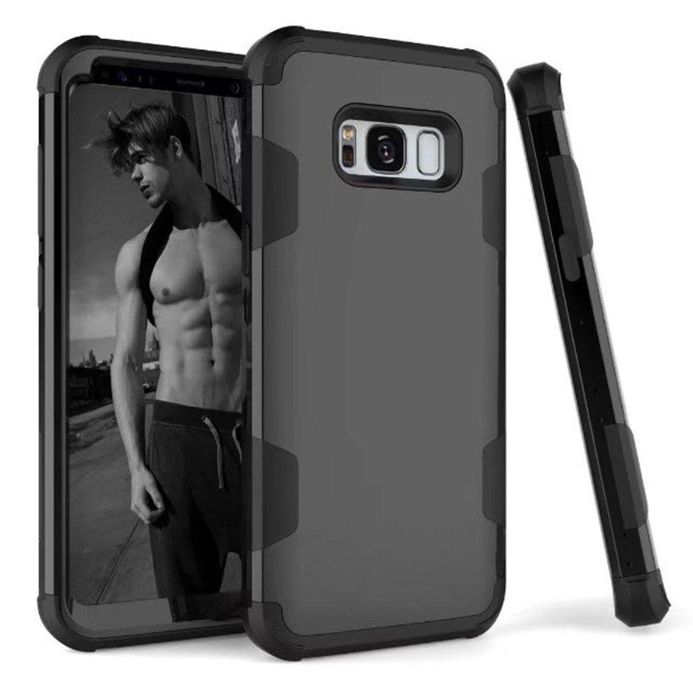 Case New Perfect 3 in 1 Shockproof Hybrid Heavy Duty High Impact Hard Plastic +Soft Silicon Rubber Armor Defender Case Cover for Samsung Galaxy S8 Plus 2017 - BLACK