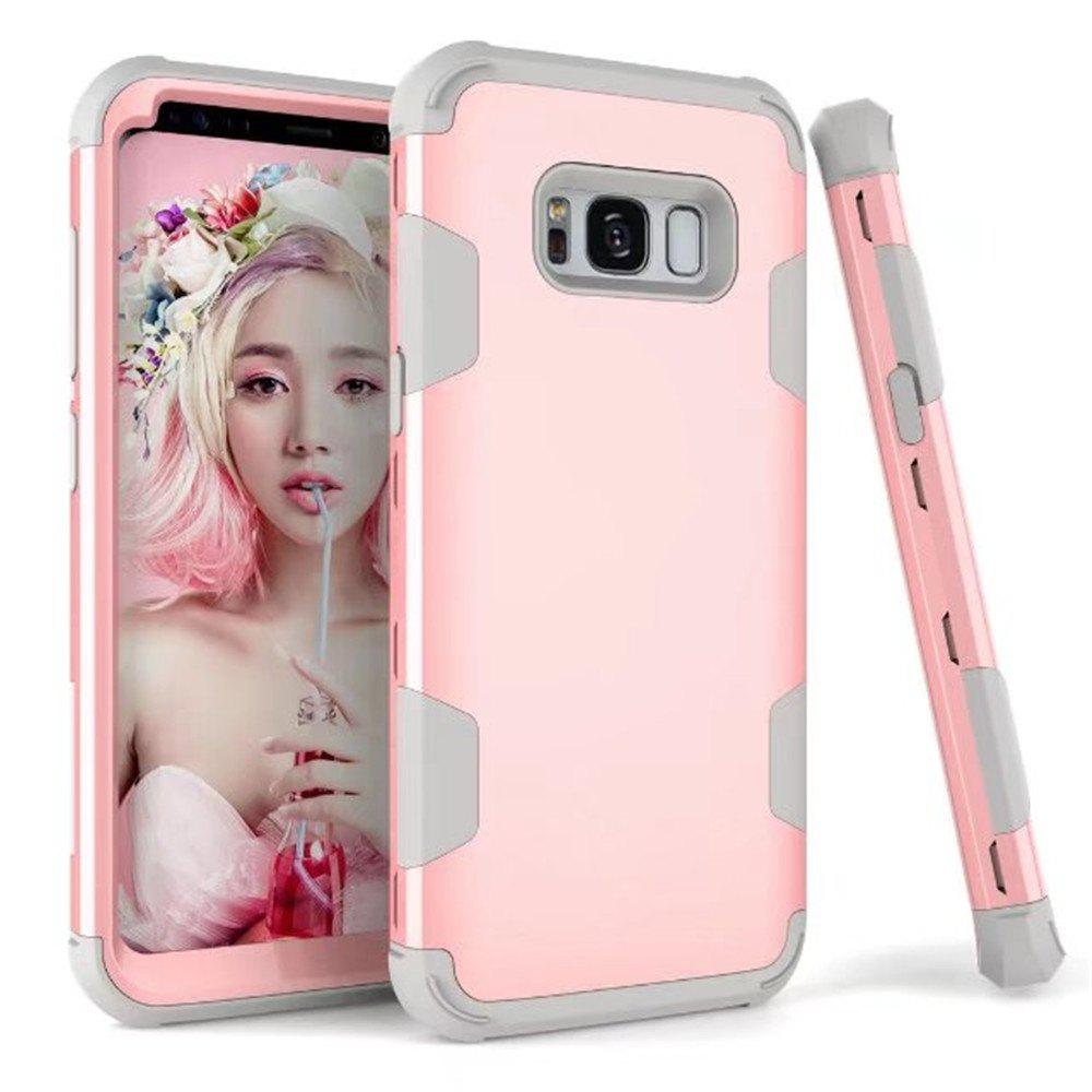 Case New Perfect 3 in 1 Shockproof Hybrid Heavy Duty High Impact Hard Plastic +Soft Silicon Rubber Armor Defender Case Cover for Samsung Galaxy S8 Plus 2017 - PINK/GREY