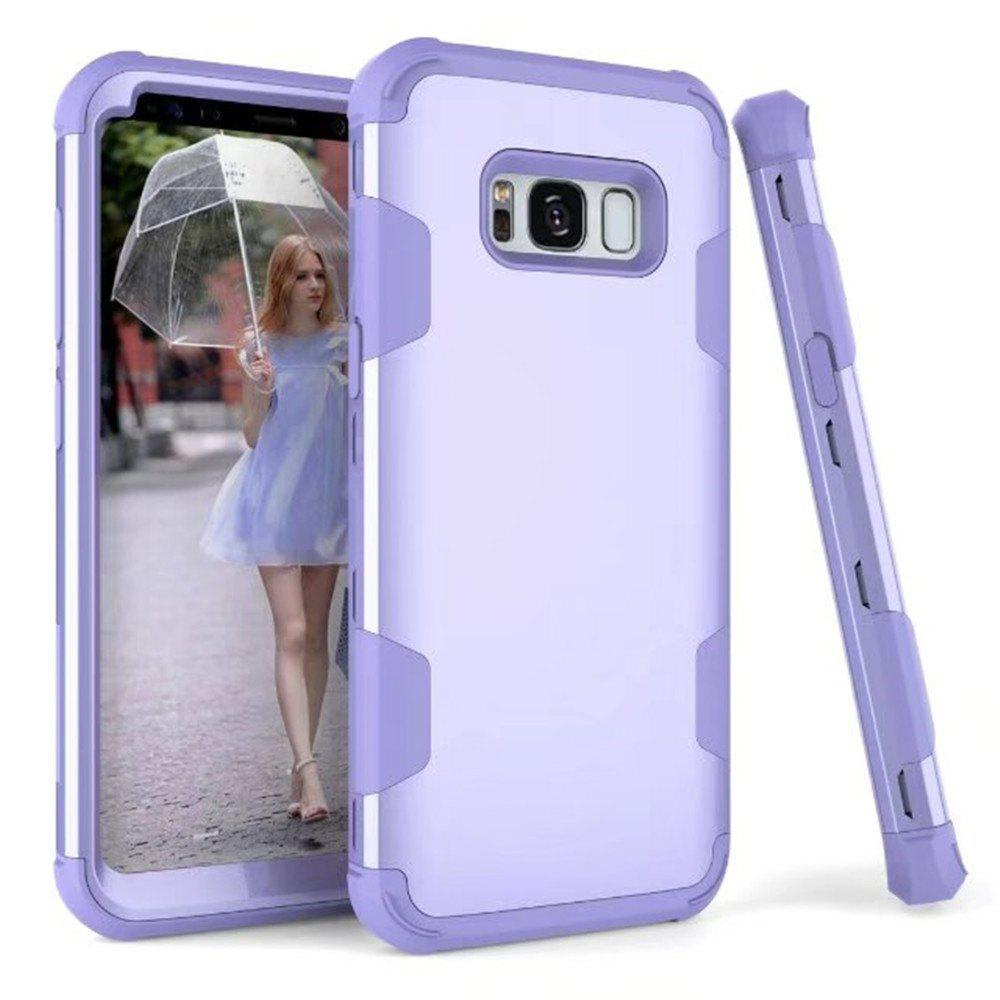 Case New Perfect 3 in 1 Shockproof Hybrid Heavy Duty High Impact Hard Plastic +Soft Silicon Rubber Armor Defender Case Cover for Samsung Galaxy S8 Plus 2017 - PURPLE