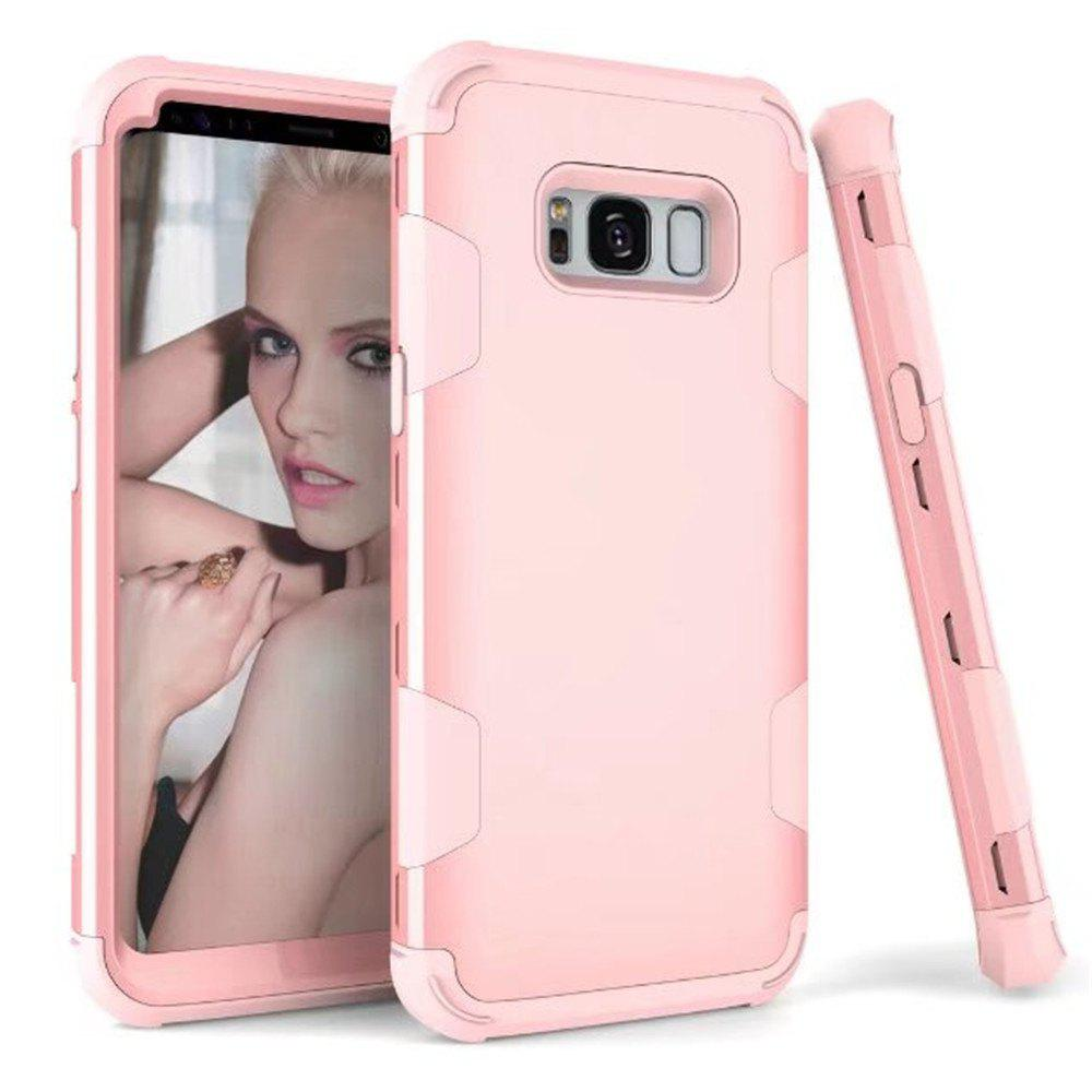 3 in 1 Shockproof Hybrid Heavy Duty High Impact Hard Plastic + Soft Silicon Rubber Armor Defender Case Cover for Samsung Galaxy S8 Plus - PAPAYA