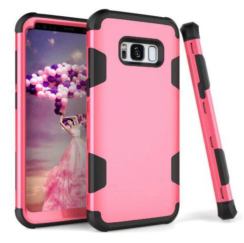 3 in 1 Shockproof Hybrid Heavy Duty High Impact Hard Plastic + Soft Silicon Rubber Armor Defender Protective Case Cover for Samsung Galaxy S8 - ROSE RED