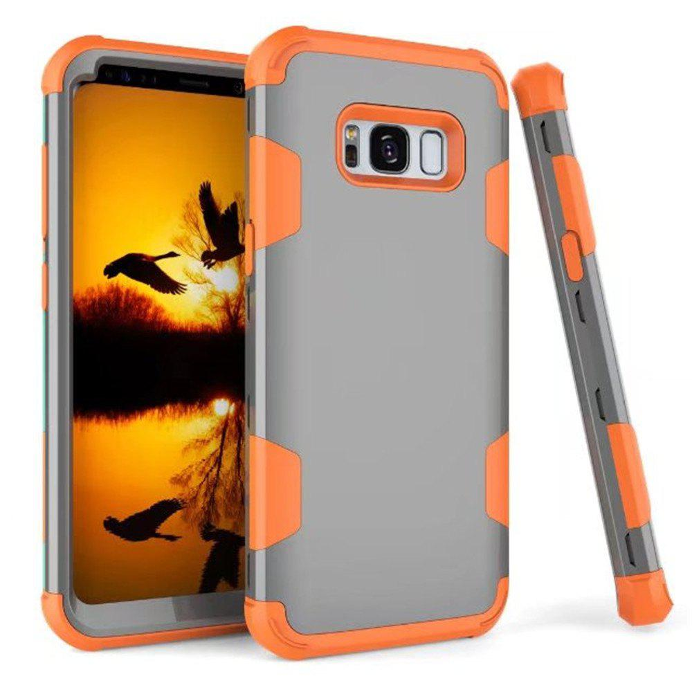 3 in 1 Shockproof Hybrid Heavy Duty High Impact Hard Plastic + Soft Silicon Rubber Armor Defender Protective Case Cover for Samsung Galaxy S8 - ORANGE