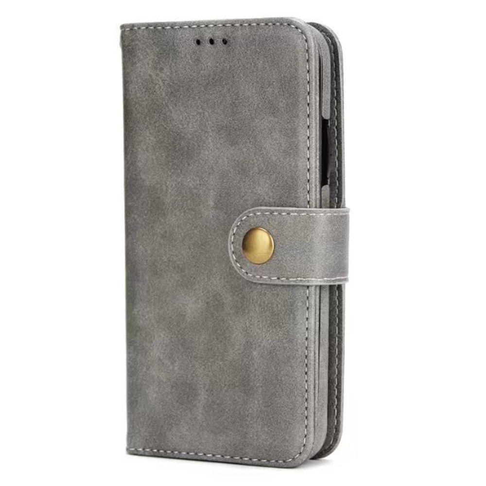 Card Holder Onetop Premium PU Leather Kickstand Card Slots Case Double Magnetic Clasp and Durable Shockproof for iPhone X Wallet Cover - GRAY