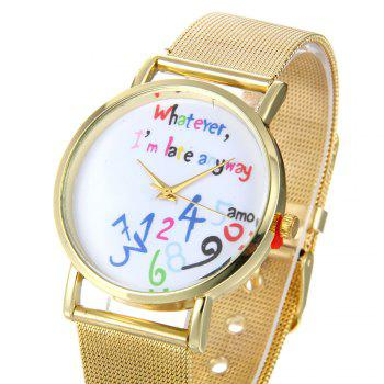 Creative Trendy Stainless Steel Band Women Quartz Watch -  GOLDEN