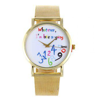 Creative Trendy Stainless Steel Band Women Quartz Watch - GOLDEN GOLDEN