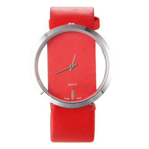 Trendy Hollow Silicone Band Women Watch - RED