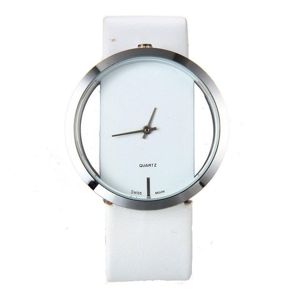 Trendy Hollow Silicone Band Women Watch - WHITE