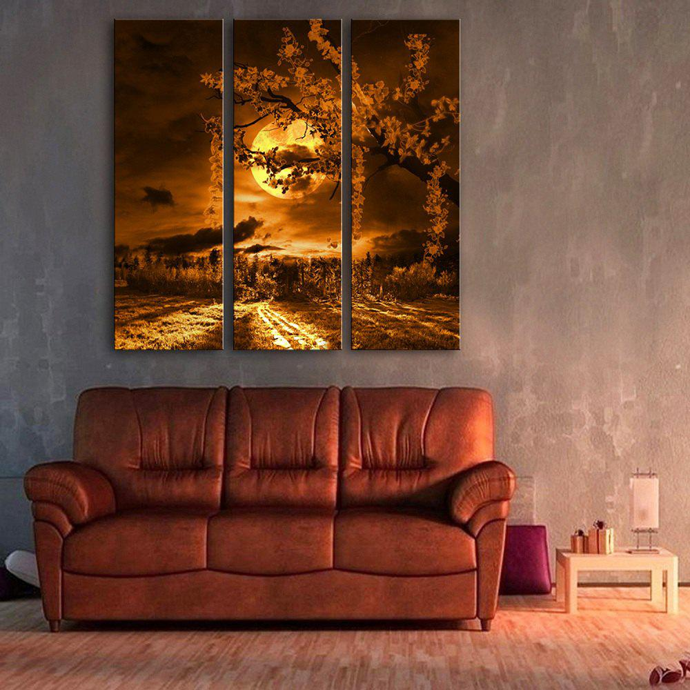 Special Design Frameless Paintings Beautiful Moonlight Pattern 3PCS - LIMEADE 12 X 35 INCH (30CM X 90CM)