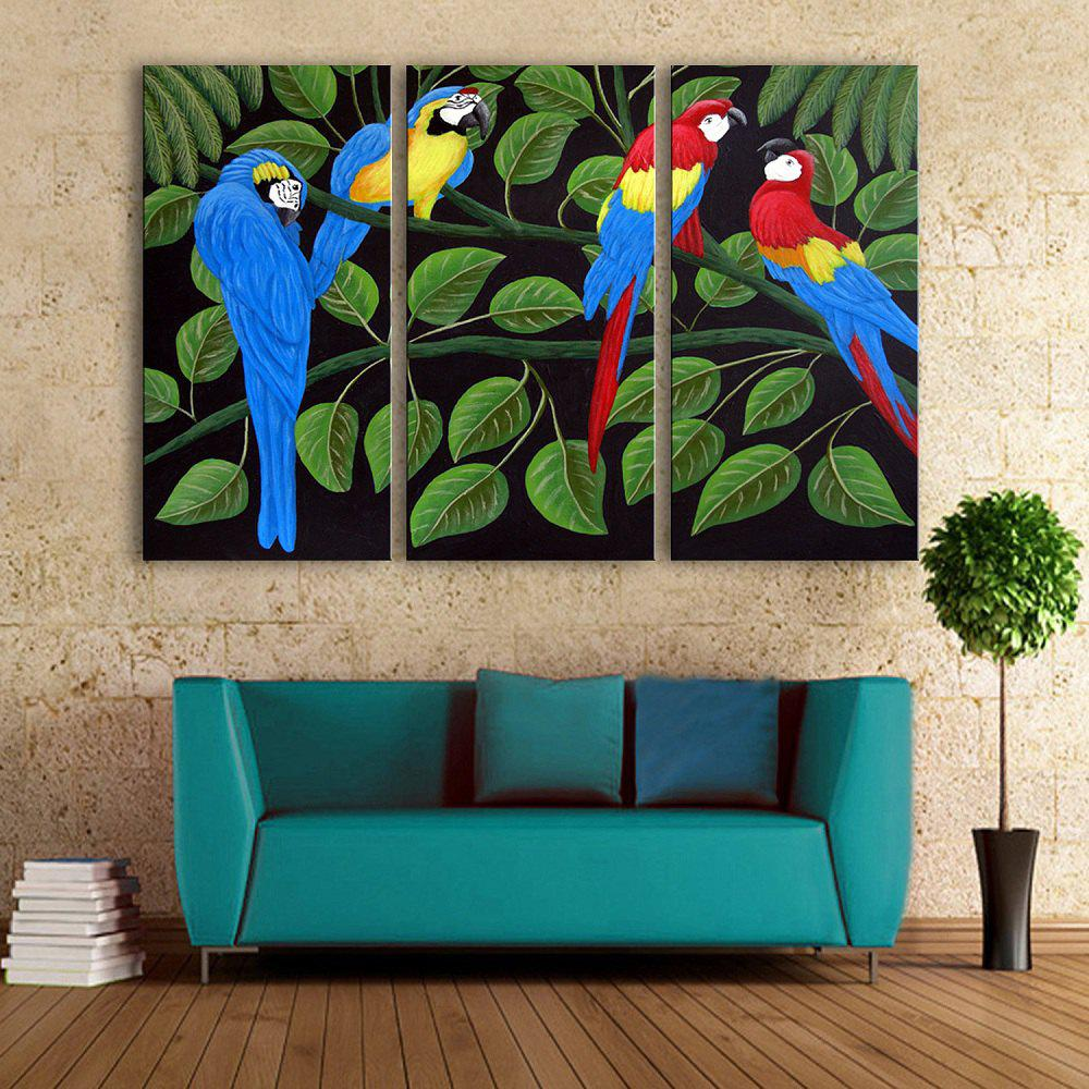 Special Design Frameless Paintings Colorful Parrot Pattern 3PCS - GREEN/ORANGE 9 X 28 INCH (24CM X 70CM)