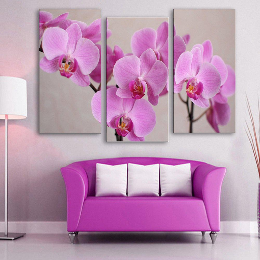 Special Design Frameless Paintings 	Purple Flowers Pattern 3PCS - PURPLE 12 X 35 INCH (30CM X 90CM)