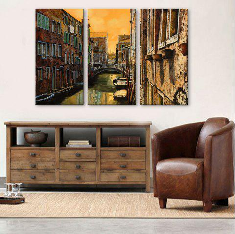 Special Design Frameless Paintings Watery City Pattern 3PCS - LIMEADE 9 X 28 INCH (24CM X 70CM)