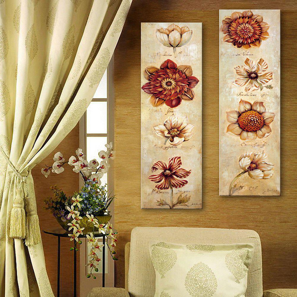 Special Design Frameless Paintings Abstract Flowers Pattern 2PCS - RED 12 X 35 INCH (30CM X 90CM)