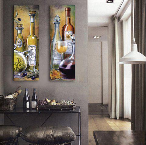 Special Design Frameless Paintings Wine Pattern 2PCS - LIGHT YELLOW 9 X 28 INCH (24CM X 70CM)