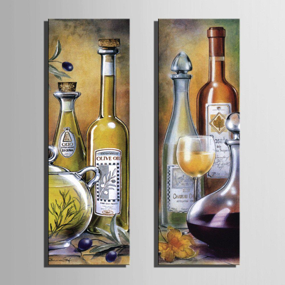 Special Design Frameless Paintings Wine Pattern 2PCS - LIGHT YELLOW 12 X 35 INCH (30CM X 90CM)