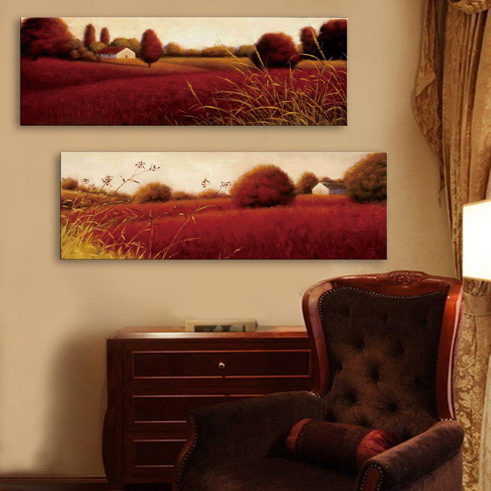 Special Design Frameless Paintings Red Field Pattern 2PCS - BURGUNDY 9 X 28 INCH (24CM X 70CM)