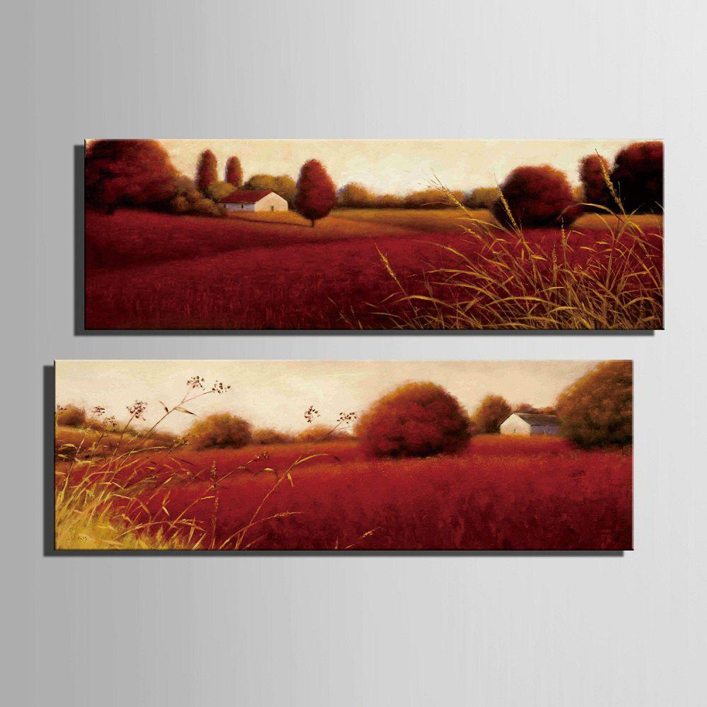 Special Design Frameless Paintings Red Field Pattern 2PCS - BURGUNDY 12 X 35 INCH (30CM X 90CM)