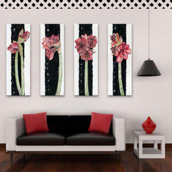 Special Design Frameless Paintings Flowers All Over The Place Pattern 4PCS - PINK PINK
