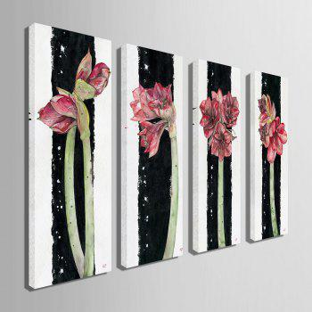 Special Design Frameless Paintings Flowers All Over The Place Pattern 4PCS - PINK 9 X 28 INCH (24CM X 70CM)