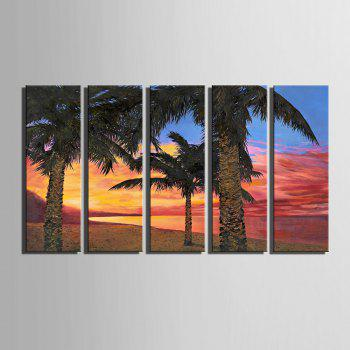Special Design Frameless Paintings Seaside Woods Pattern 5PCS - YELLOW / PINK YELLOW / PINK