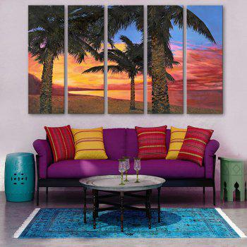 Special Design Frameless Paintings Seaside Woods Pattern 5PCS - YELLOW + PINK YELLOW / PINK