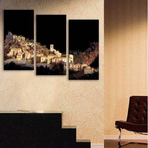 Special Design Frameless Paintings Village on The Mountain Pattern 3PCS - BLACK 12 X 35 INCH (30CM X 90CM)