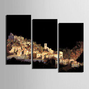 Special Design Frameless Paintings Village on The Mountain Pattern 3PCS - BLACK BLACK