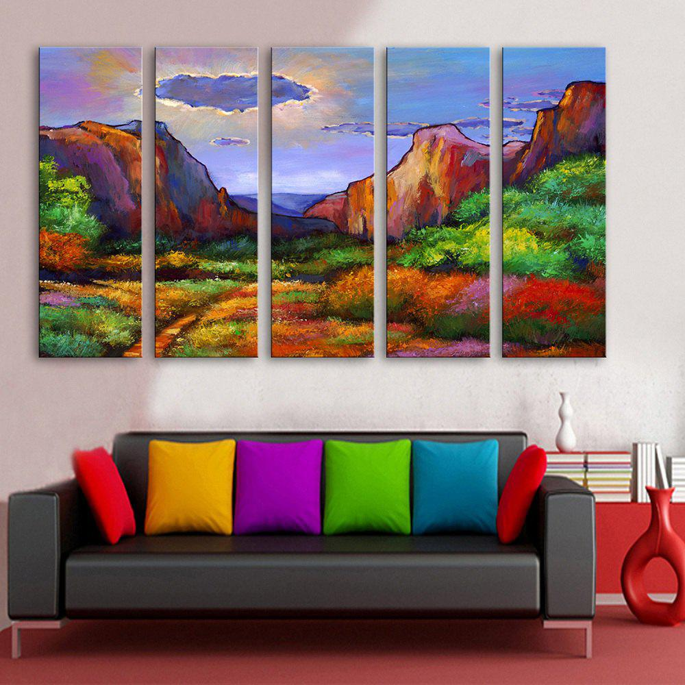 Special Design Frameless Paintings Abstract Valley Pattern 5PCS - COLORMIX 12 X 35 INCH (30CM X 90CM)