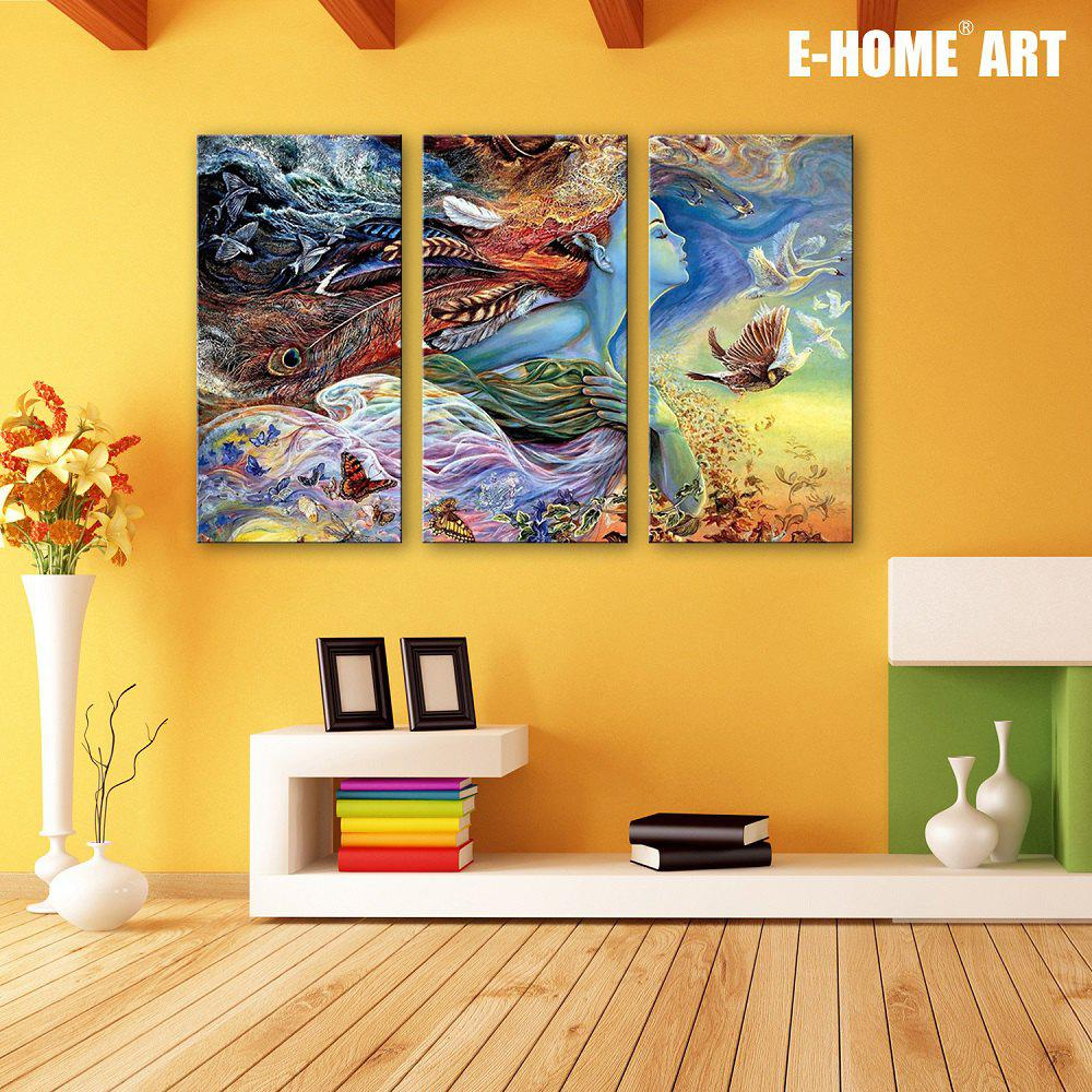 Special Design Frameless Paintings Birds girl 3PCS - BLUE/RED 9 X 28 INCH (24CM X 70CM)