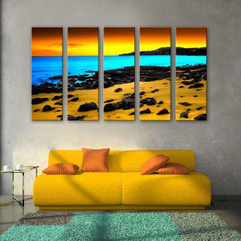 Special Design Frameless Paintings Three color seaview 5PCS - YELLOW YELLOW